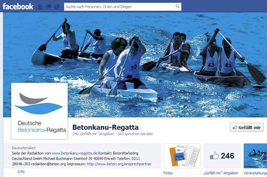 Facebookseite der Betonkanu-Regatta
