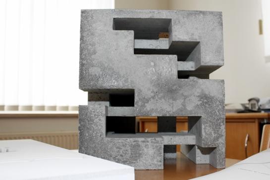 Einer der Entwürfe für das Seminargebäude aus Beton