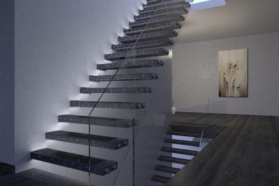 Treppe aus Lichtfaserbeton