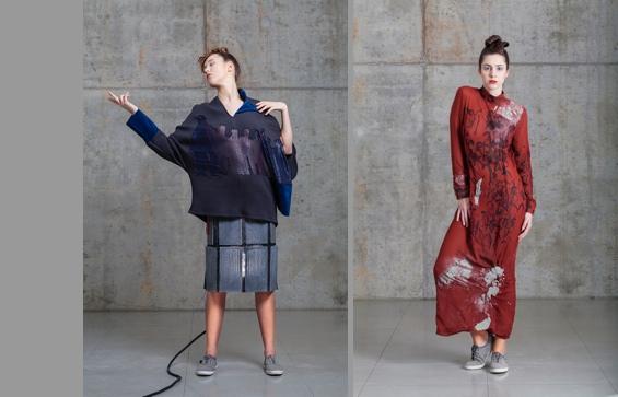 """Der """"Lichtbeton-Rock"""" (links) und ein Kleid von Ariane Königshof"""
